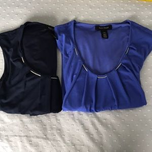 2 WHBM top size XXS .. ROYAL and NAVY blue 👕👕